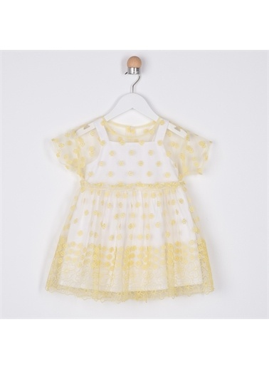 Panço Kız Bebek Parti Elbisesi 2111GB26002 Sarı